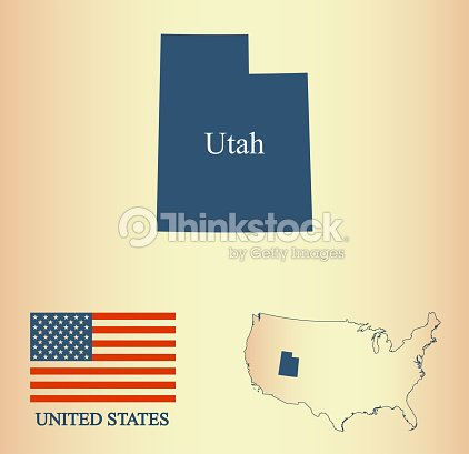 Utah State Of Usa Map Vector Outline Illustartion And United States ...