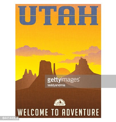 Utah travel poster or sticker. vector illustration of monument valley at sunset. : stock vector