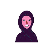 Сute avatar of muslim woman in hijab. Icon of a girl. Vector illustration.