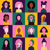Сute avatars of women with different nationality, skin color, hairstyle and profession. Seamless pattern with icons of pretty girls. Vector illustration.