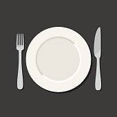 Utensil in flat style. Illustration with plate, knife, fork