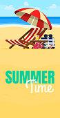 Vacation and travel concept. Beach umbrella, beach chair.
