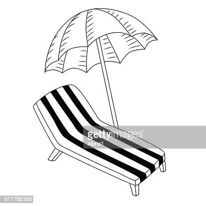 Sonnenschirm strand comic  Urlaub Liegestuhl Mit Sonnenschirm Schwarzweiß Isoliert ...