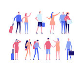 Vacation - flat design style set of isolated characters on white background. Cute cartoon men and women ready to go on holiday, standing with baggage and maps. Travel concept
