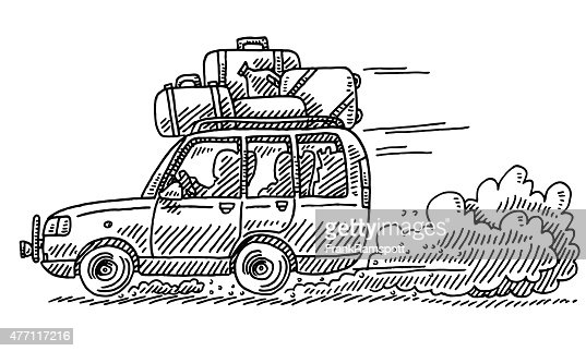 Suv Driving Letters Drawing Vector Art Getty Images