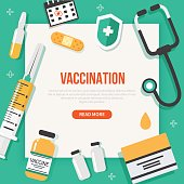 Vaccination concept poster with text place. Vector medical illustration.