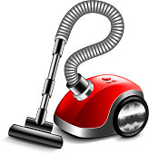Vacuum cleaner isolated on white photo-realistic vector illustration