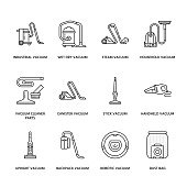 Vacuum cleaners colored flat line icons. Different vacuums types - industrial, household, handheld, robotic, canister, wet dry. Thin linear signs for housework equipment shop.