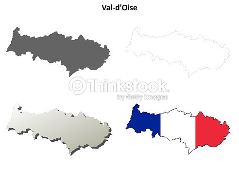 Map France 945.Valdoise Iledefrance Outline Map Set Stock Vector Thinkstock