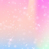 Holographic abstract background. Stylish holographic backdrop with gradient mesh. 90s, 80s retro style. Iridescent graphic template for banner, flyer, cover design, mobile interface, web app.