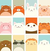 Banners, backgrounds, flyers, placards in hand drawn style with cute animals. Bear, fox, rabbit, dog, pig, cat, panda, tiger, beaver, raccoon, lion, polar bear. Holiday poster for scrapbooking. Vector