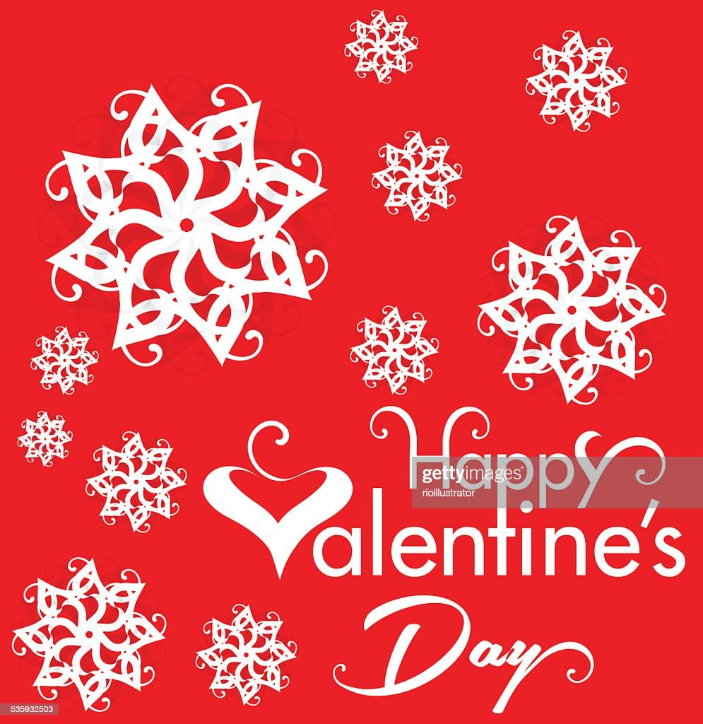 Valentine Day Text Background with Heart & Flower : Vector Art