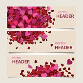Set of three abstract Valentine's Day headers, web banners. Vector illustration