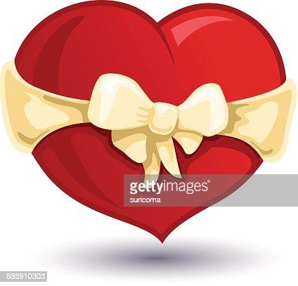 Coração Dia dos Namorados com um laço bege-nó : Arte vetorial