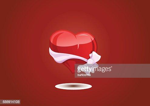 Coração Dia dos Namorados com um laço-nó : Arte vetorial