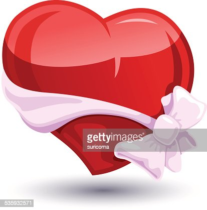 Valentine heart with a bow-knot : Vector Art
