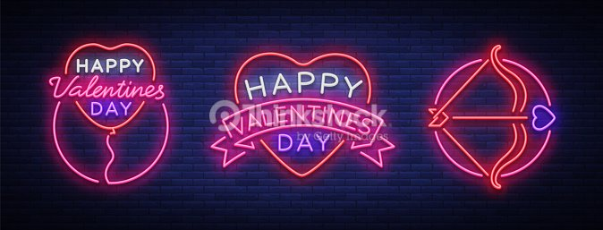 Valentine s day is a collection of neon signs collection banners collection banners neon billboards vibrant advertising brochures design template for greetings flyer card invitation vector illustration stopboris Choice Image