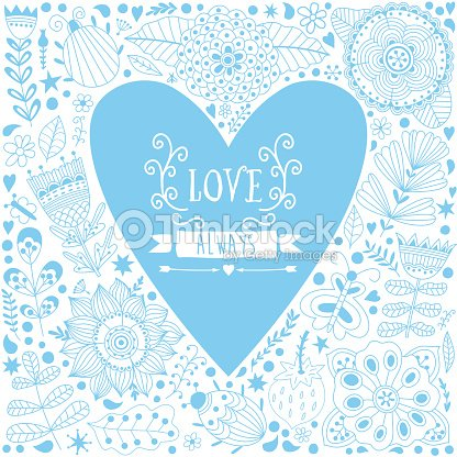 valentine template greeting card with flowers in heart shape vector