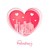 Valentines card. Paper cut heart and city of Milan. Happy Valentine's day. Vector illustration.
