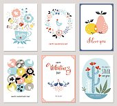 Valentine's Cards in scandinavian style. Bouquet, floral wreath, apple, pear, love birds, cacti and hearts. Vector illustration.