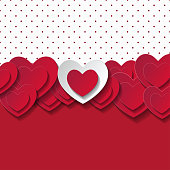 Valentine's day abstract romantic background with cut paper hearts. Vector illustration. Paper hearts cut from paper. International holiday of lovers. Festive banner or poster