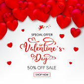 Valentines Day Background with 3D Realistic Red Hearts and Typography Text in White Background. Vector Illustration