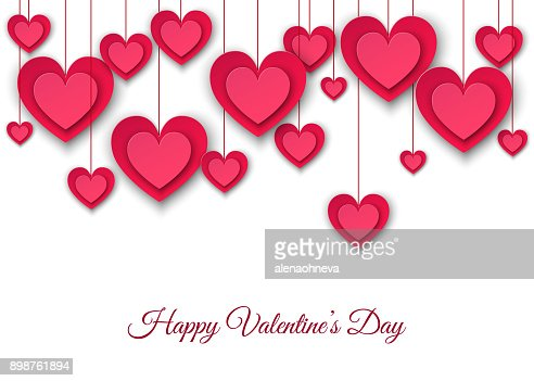 Valentines day  background with hanging  pink paper hearts. : Vector Art