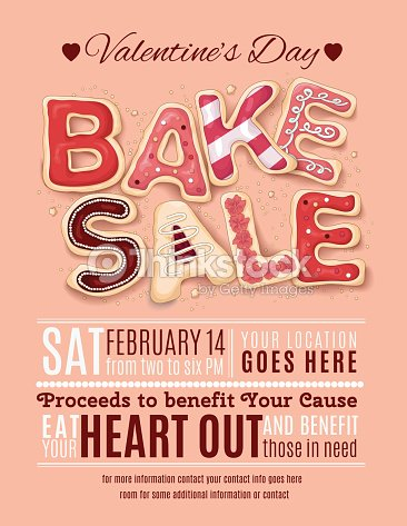 Valentines Day Bake Sale Flyer Template Vector Art | Thinkstock