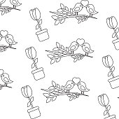 valentines day bird branch and potted flower decoration pattern vector illustration