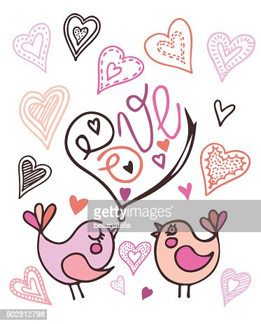 valentines day birds hand draw vector illustration in doodle style, Ideas
