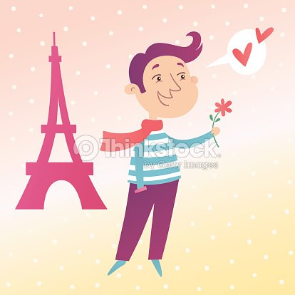 Valentines Day Card French Man In Love Vector Art – Valentines Day Cards for Men
