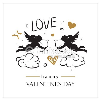 Valentines Day Card With Cupids Valentines Day Logo Symbol Sign Icon