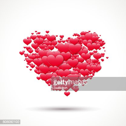 Valentines Day Card With Heart And Scattered Love Symbols Vector Art