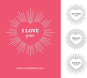 Creative design concept with heart shaped frame and sunburst for Valentine's day, Mother's day, Women's day greeting cards or love confession