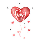 Valentines day card with Love lettering and red balloon. Vector illustration