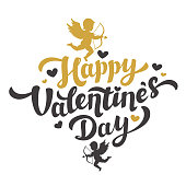 Valentines Day card with the image of Cupid silhouette. Happy Valentines Day Lettering. 14th of february greeting card. Black and gold inscription with hearts and angels on white background. Vector il