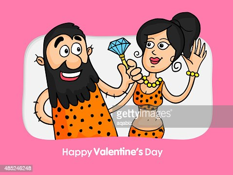 Valentines Day Celebration With Prehistoric Couple Vector Art