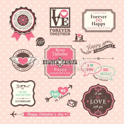 valentines day elements labels and frames vintage style vector art