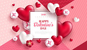 Valentine's day concept background. Vector illustration. 3d red hearts and paper cut flowers with white square frame. Cute love sale banner or greeting card
