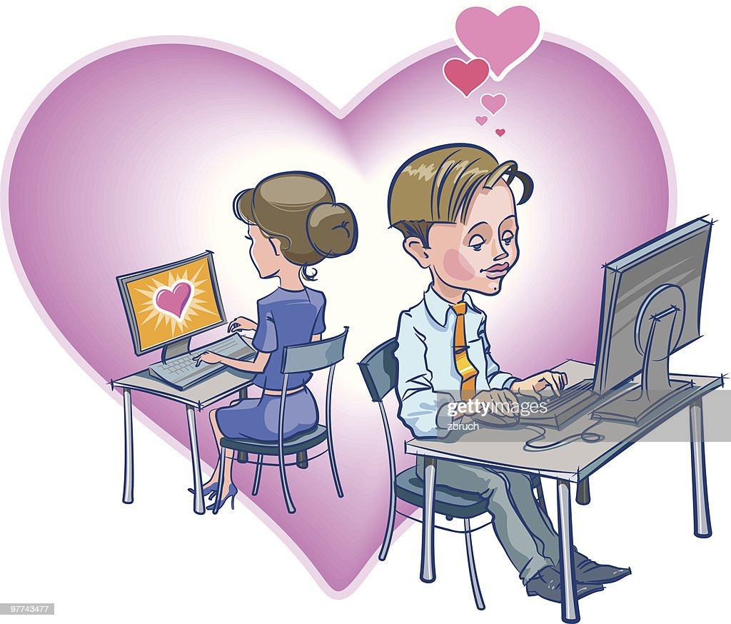 Valentine's Day in an Office : Vector Art