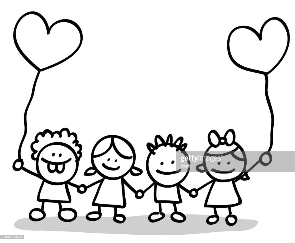 valentines day kids lovers holding hands cartoon vector art