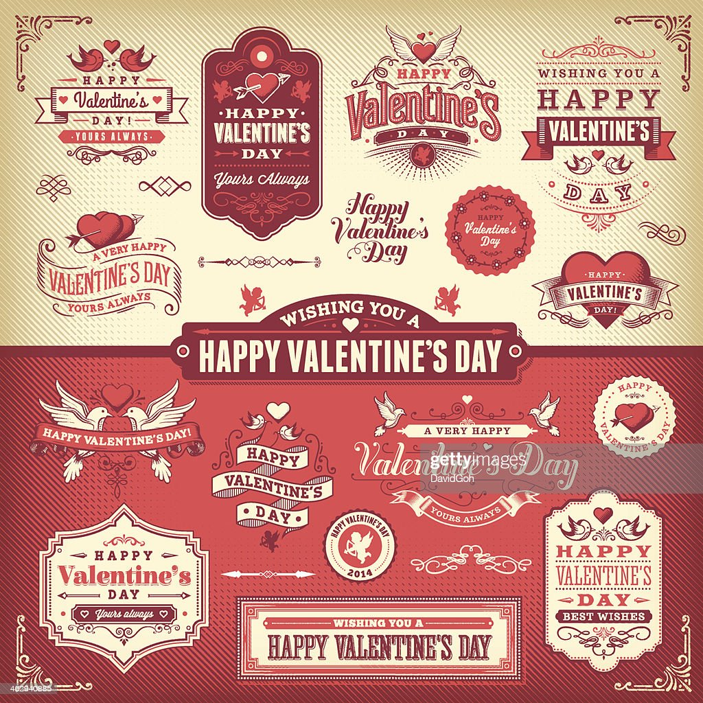 Valentines Day Label Set Vector Art – Valentine Day Label