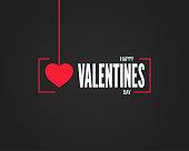 valentines day logo on black background 10 eps