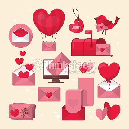 Valentines Day Love Letter And Email Icons Design Vector Art