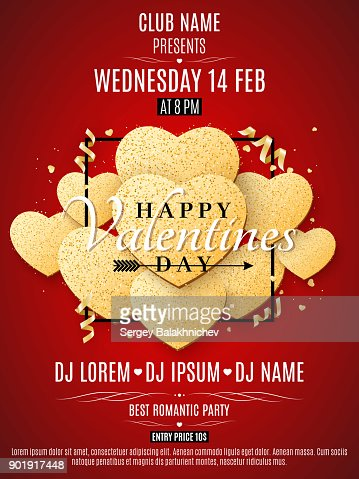 Valentines Day Party Flyer Golden Hearts Of Glitters In A Black