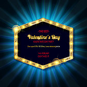 Valentine's day party. Retro light banner.Valentine's card. Vector illustration. Vintage banner on dark blue background.