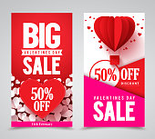 Valentines day sale vector poster designs and web banners with red hearts elements for store promotion. Vector illustration.