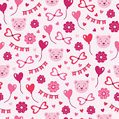 St. Valentine's Day seamless pattern with balloons, bow, hearts, flowers, garland and teddy on light pink background. Perfect for gift paper, greeting cards, wallpaper. Vector hand drawn illustration.