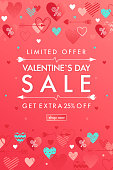 Valentines Day special offer banner with different hearts.Sale flyer template perfect for prints, flyers, banners, promotions, special offers and more. Vector Valentines Day promotion.