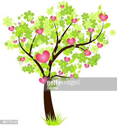 Valentines Day Tree With Pink Hearts Vector Art Getty Images